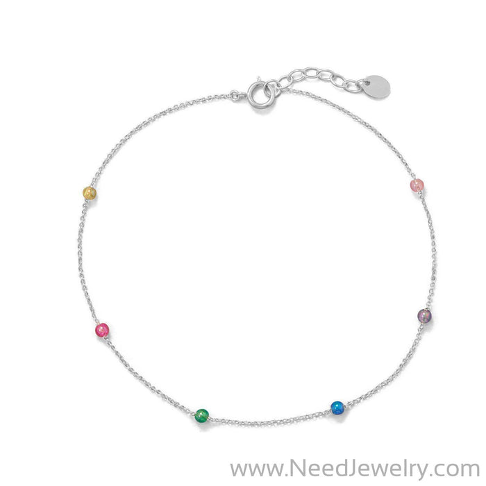 "9.25""+1"" Muli Color Beaded Anklet-Bodyjewelry-Needjewelry.com"