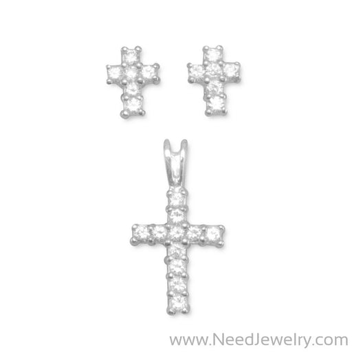CZ Cross Earrings/Pendant Set-Earrings-Needjewelry.com