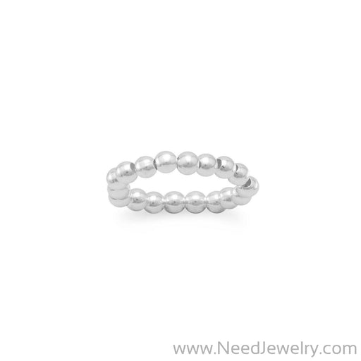 Silver Bead Stretch Toe Ring-Body jewelry-Needjewelry.com