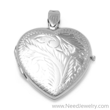 Large Etched Heart Locket-Pendants-Needjewelry.com