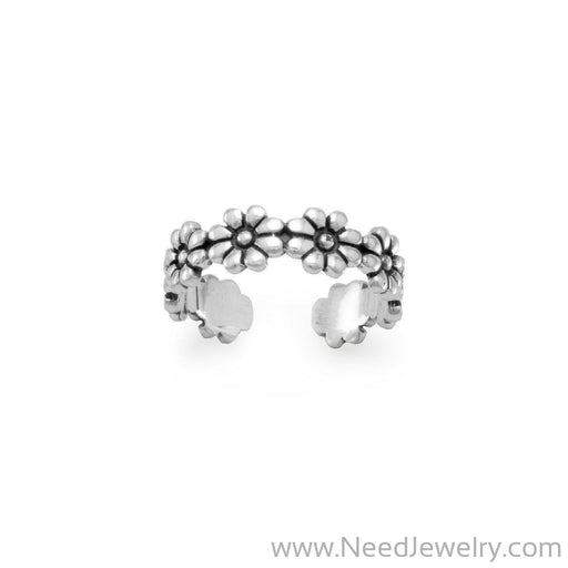 Oxidized Flower Toe Ring-Body jewelry-Needjewelry.com