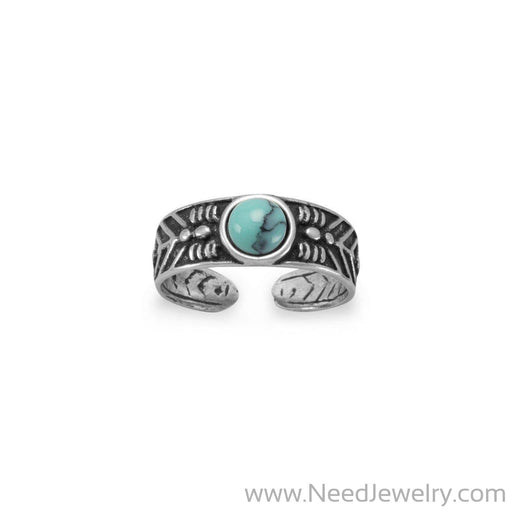 Oxidized Toe Ring with Simulated Turquoise-Body jewelry-Needjewelry.com