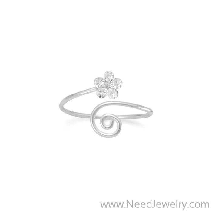 Wrap Design Toe Ring with Clear Crystal Flower-Body jewelry-Needjewelry.com