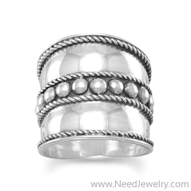 Bali Ring with Flat Beads in the Center and Rope Edge-Rings-Needjewelry.com