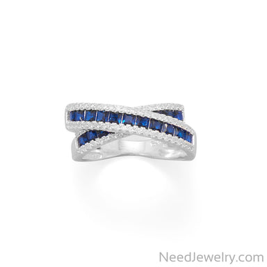Item # [sku} - Blue CZ Overlapping Ring on NeedJewelry.com