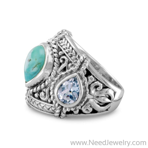 Blue Topaz and Reconstituted Turquoise Ring-Rings-Needjewelry.com