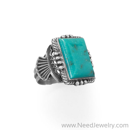 Bold Turquoise! Native American Navajo Men's Ring-Rings-Needjewelry.com