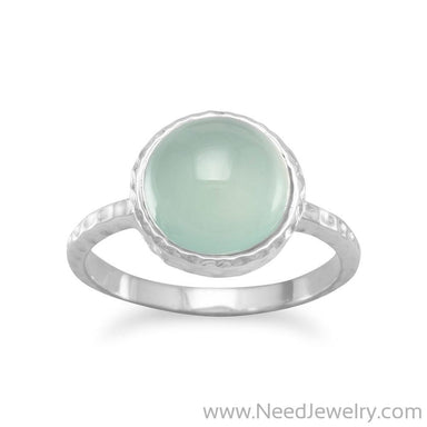 Cabochon Sea Green Chalcedony Ring-Rings-Needjewelry.com