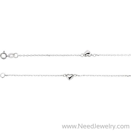 "14K White .75 mm Diamond-Cut Cable Heart 10"" Anklet-Body jewelry-Needjewelry.com"
