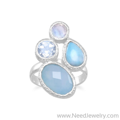 Chalcedony, Larimar, Topaz and Moonstone Cluster Ring-Rings-Needjewelry.com