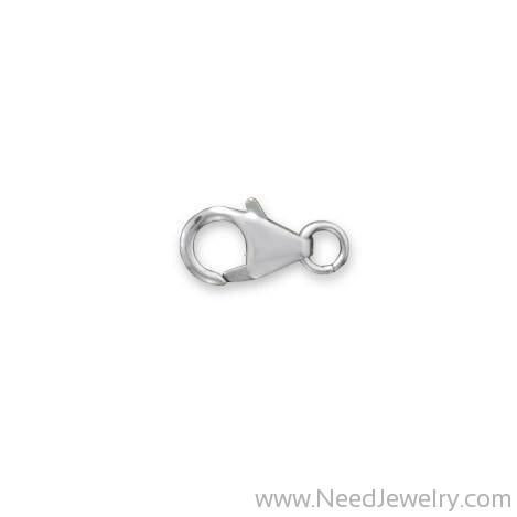 6mm x 10mm Rhodium Plated Fancy Lobster Clasps with Ring (Set of 5)-Bracelets-Needjewelry.com