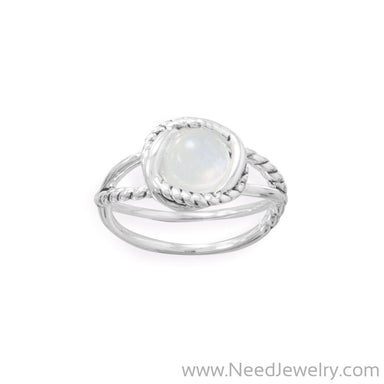 Criss Cross Band Rainbow Moonstone Ring-Rings-Needjewelry.com