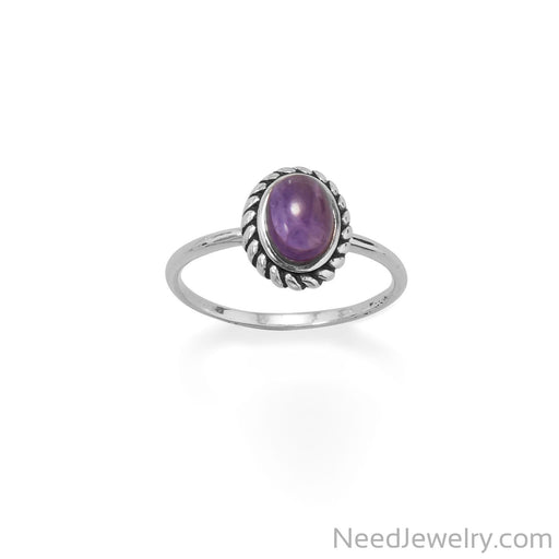Item # [sku} - Delicate Oval Amethyst with Rope Edge Ring on NeedJewelry.com
