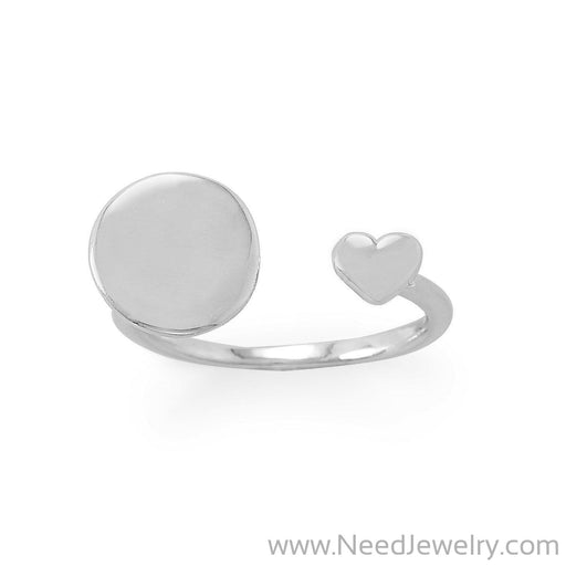 Engravable Rhodium Plated Wrap Ring with Heart-Rings-Needjewelry.com