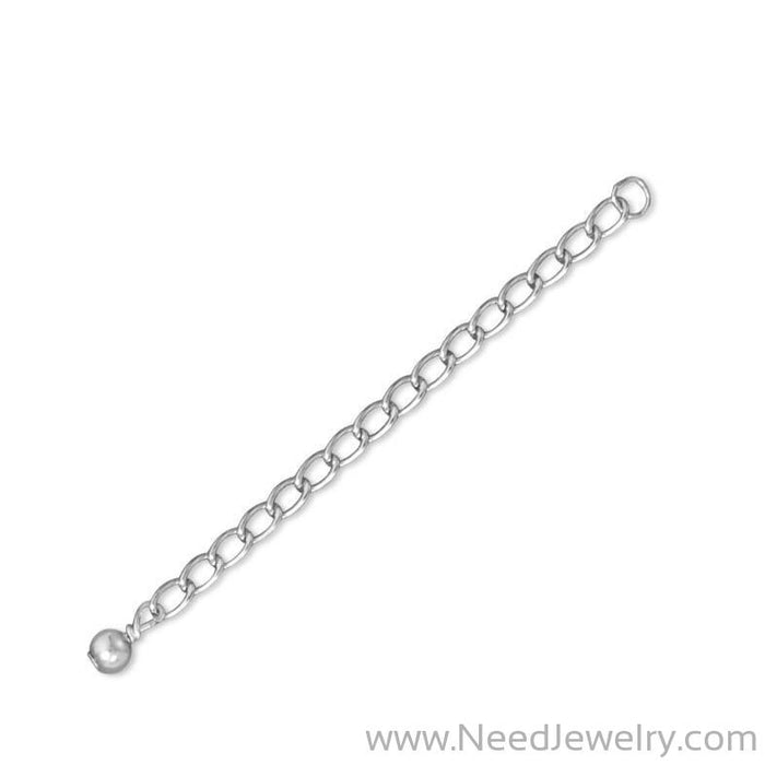 "2"" Rhodium Plated Sterling Silver Extender Chains with 4mm Bead Ends (Set of 2)-Bracelets-Needjewelry.com"