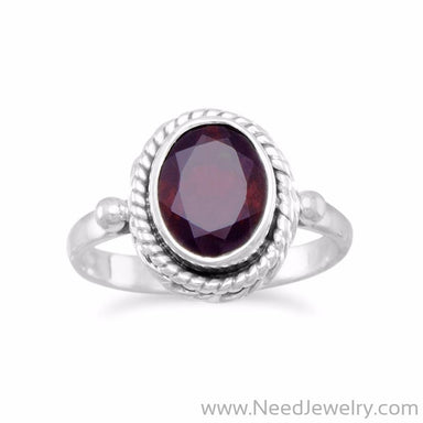 Faceted Garnet Ring with Rope Edge-Rings-Needjewelry.com