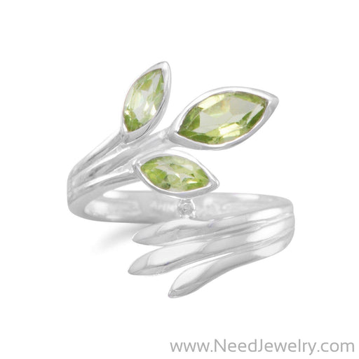Fan Design Marquise Peridot Wrap Ring-Rings-Needjewelry.com