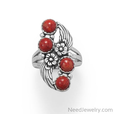 Item # [sku} - Floral Design Dyed Red Coral Ring on NeedJewelry.com