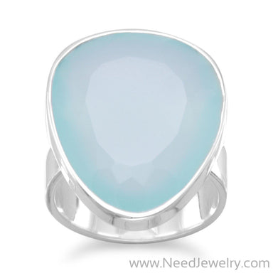Freeform Sea Green Chalcedony Ring-Rings-Needjewelry.com