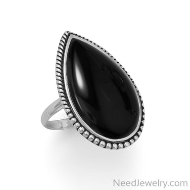 Item # [sku} - Large Black Onyx with Beaded Edge Ring on NeedJewelry.com