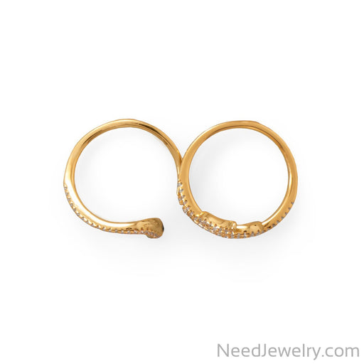 Item # [sku} - 14 Karat Gold Plated CZ Wrap Snake Ring on NeedJewelry.com