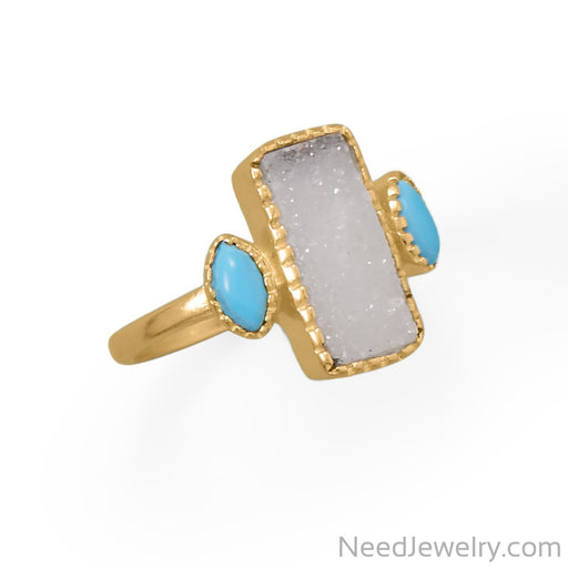 Item # [sku} - 14 Karat Gold Plated Druzy and Synthetic Turquoise Ring on NeedJewelry.com