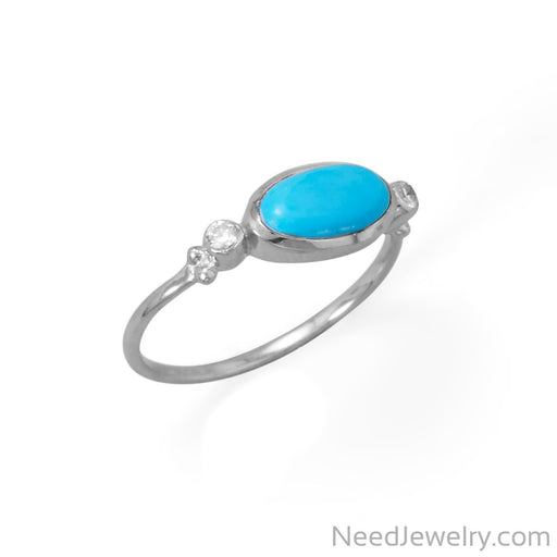 Item # [sku} - Oval Synthetic Turquoise and CZ Ring on NeedJewelry.com
