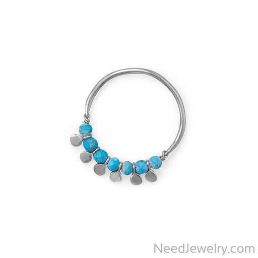 Item # [sku} - Rhodium Plated Synthetic Turquoise Bead and Disk Ring on NeedJewelry.com