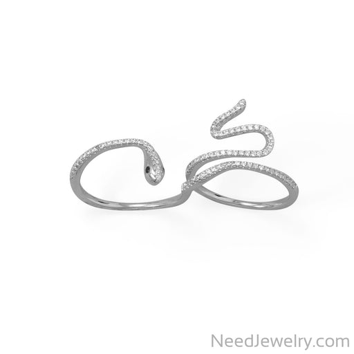 Item # [sku} - Rhodium Plated CZ Wrap Snake Ring on NeedJewelry.com