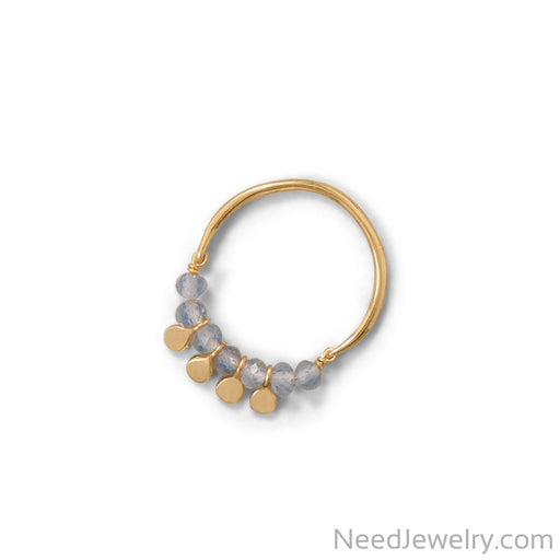 Item # [sku} - 14 Karat Gold Plated Labradorite Bead and Disk Ring on NeedJewelry.com