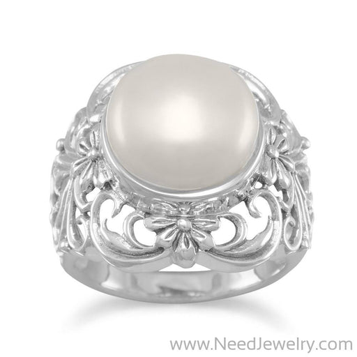 Ornate Cultured Freshwater Pearl Ring-Rings-Needjewelry.com
