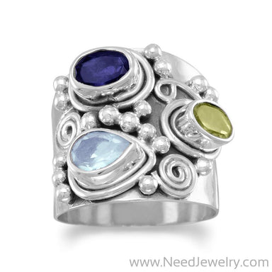 Ornate Multistone Ring-Rings-Needjewelry.com