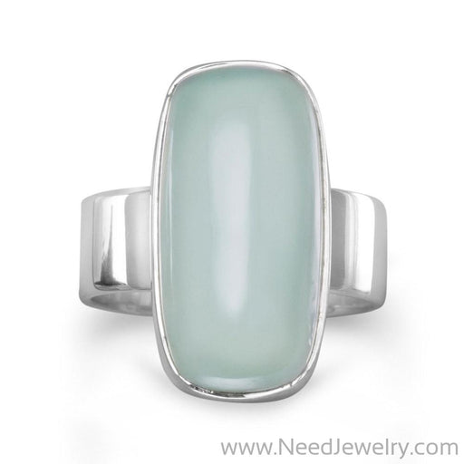 Oval Green Chalcedony Ring-Rings-Needjewelry.com