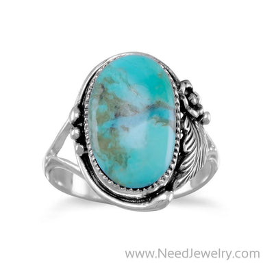 Oval Reconstituted Turquoise Floral Design Ring-Rings-Needjewelry.com