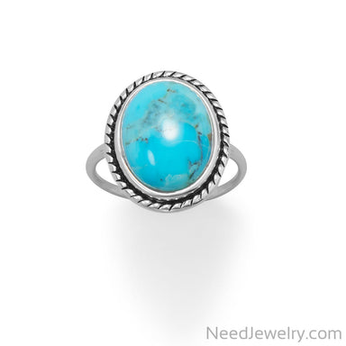 Item # [sku} - Oval Turquoise with Rope Edge Ring on NeedJewelry.com