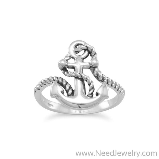 Oxidized Anchor Ring with Rope-Rings-Needjewelry.com