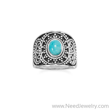 Oxidized Beaded Design Reconstituted Turquoise Ring-Rings-Needjewelry.com