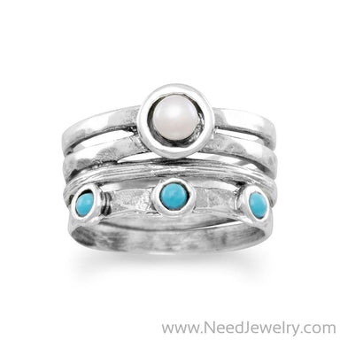 Oxidized Cultured Freshwater Pearl and Reconstituted Turquoise Ring-Rings-Needjewelry.com