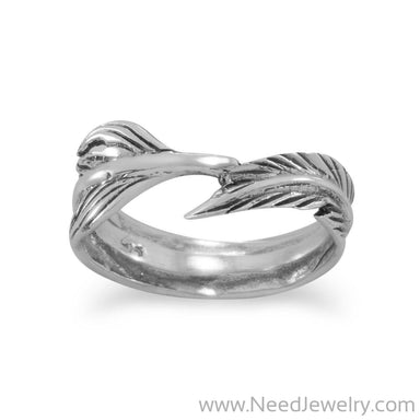 Oxidized Feather Wrap Ring-Rings-Needjewelry.com