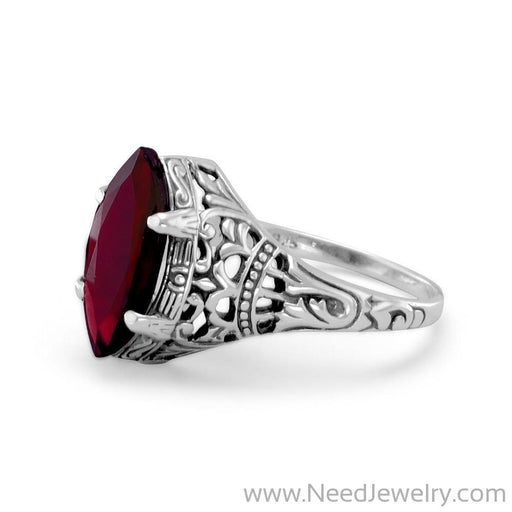 Oxidized Garnet Ring-Rings-Needjewelry.com