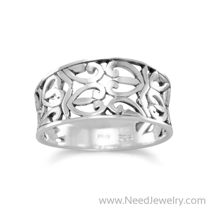 Oxidized Heart Design Ring-Rings-Needjewelry.com