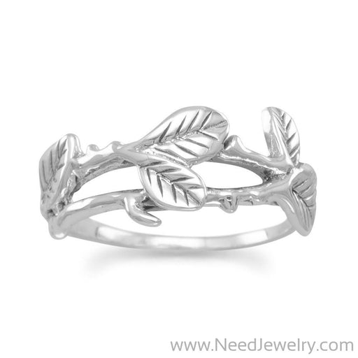 Oxidized Leaf Design Ring-Rings-Needjewelry.com
