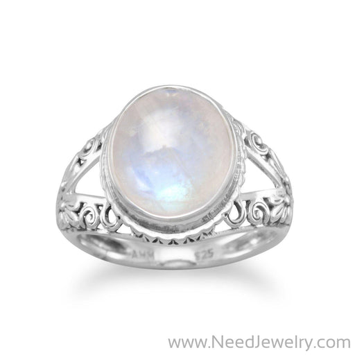 Oxidized Ornate Rainbow Moonstone Ring-Rings-Needjewelry.com