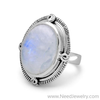 Oxidized Oval Rainbow Moonstone Ring-Rings-Needjewelry.com