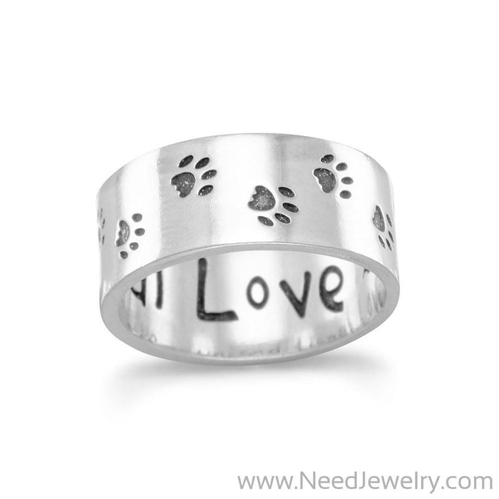 Oxidized Paw Print Band-Rings-Needjewelry.com