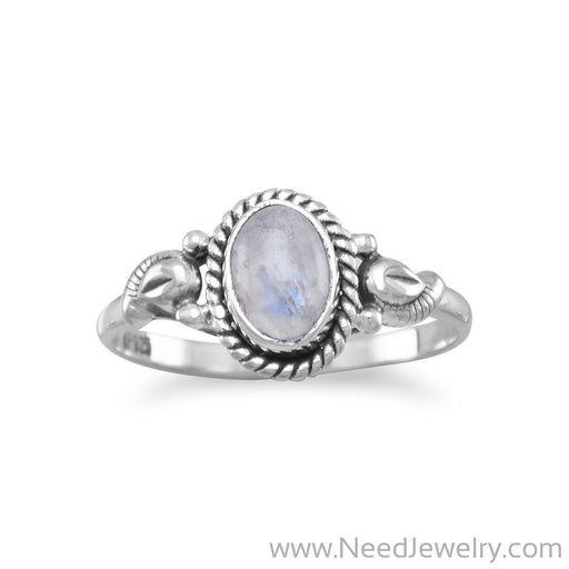 Oxidized Rainbow Moonstone Ring-Rings-Needjewelry.com