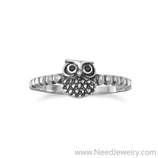 Oxidized Small Owl Ring-Rings-Needjewelry.com