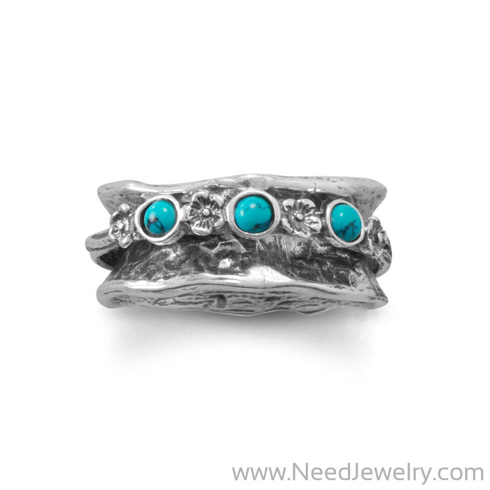 Oxidized Spin Ring with Reconstituted Turquoise Stones-Rings-Needjewelry.com