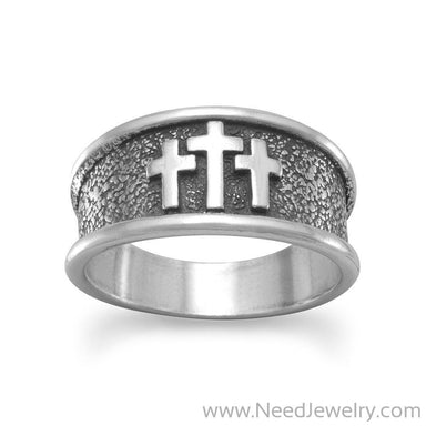 Oxidized Three Cross Ring-Rings-Needjewelry.com