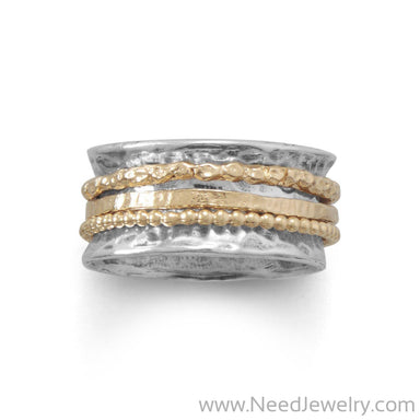 Oxidized Two Tone Multi-Band Spin Ring-Rings-Needjewelry.com